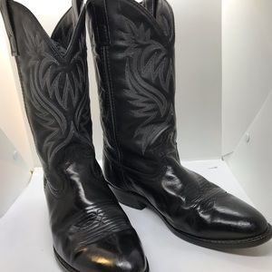 Laredo Mens Cowboy boys black leather size 9